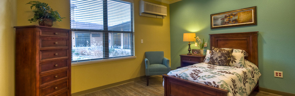 Bedroom at senior living community in Dallas