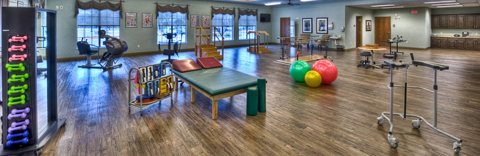 Fitness center at Dallas Texas senior living community