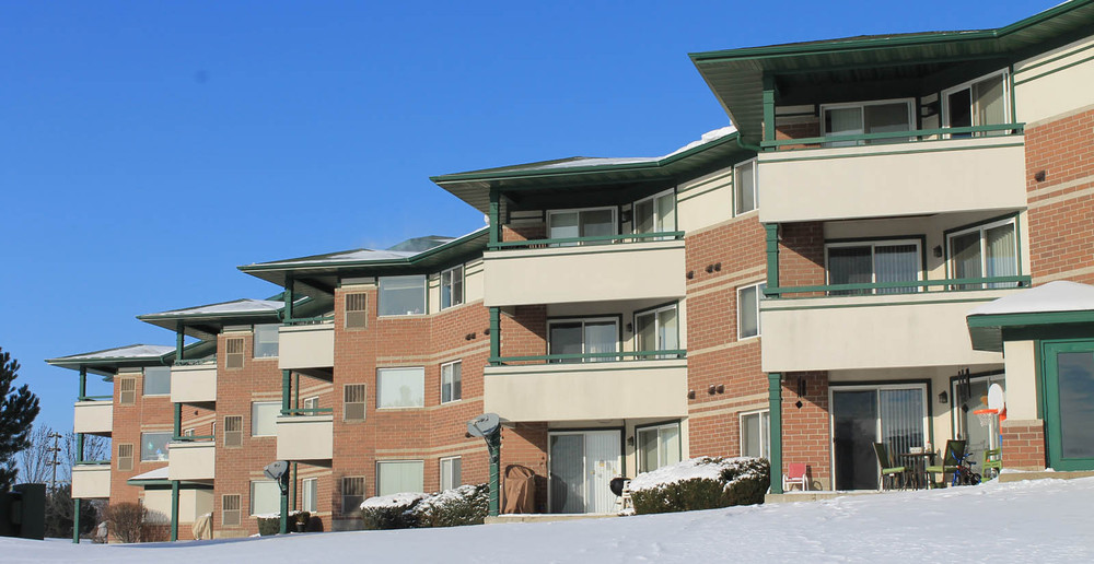 Snowy exterior apartments pleasant prairie patios