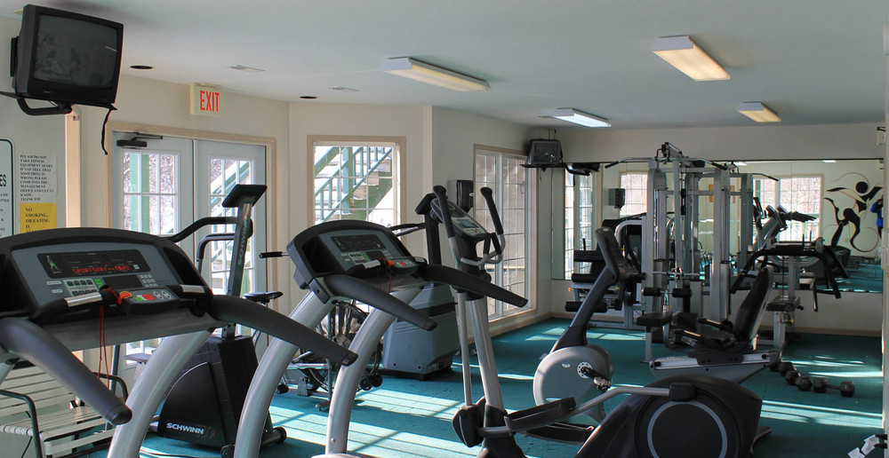 Work out in the fitness center at Lake Geneva apartments