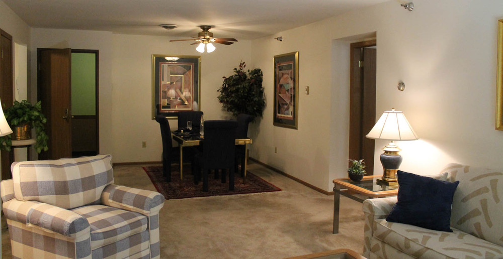 Open floor plan living room at New Berlin apartments