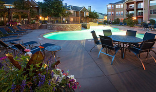 Pool area at apartments