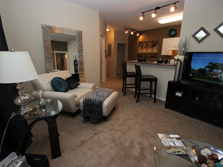The living room is open to the bar at the apartments for rent in New Port Richey