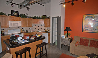 Studio kitchen area at apartments