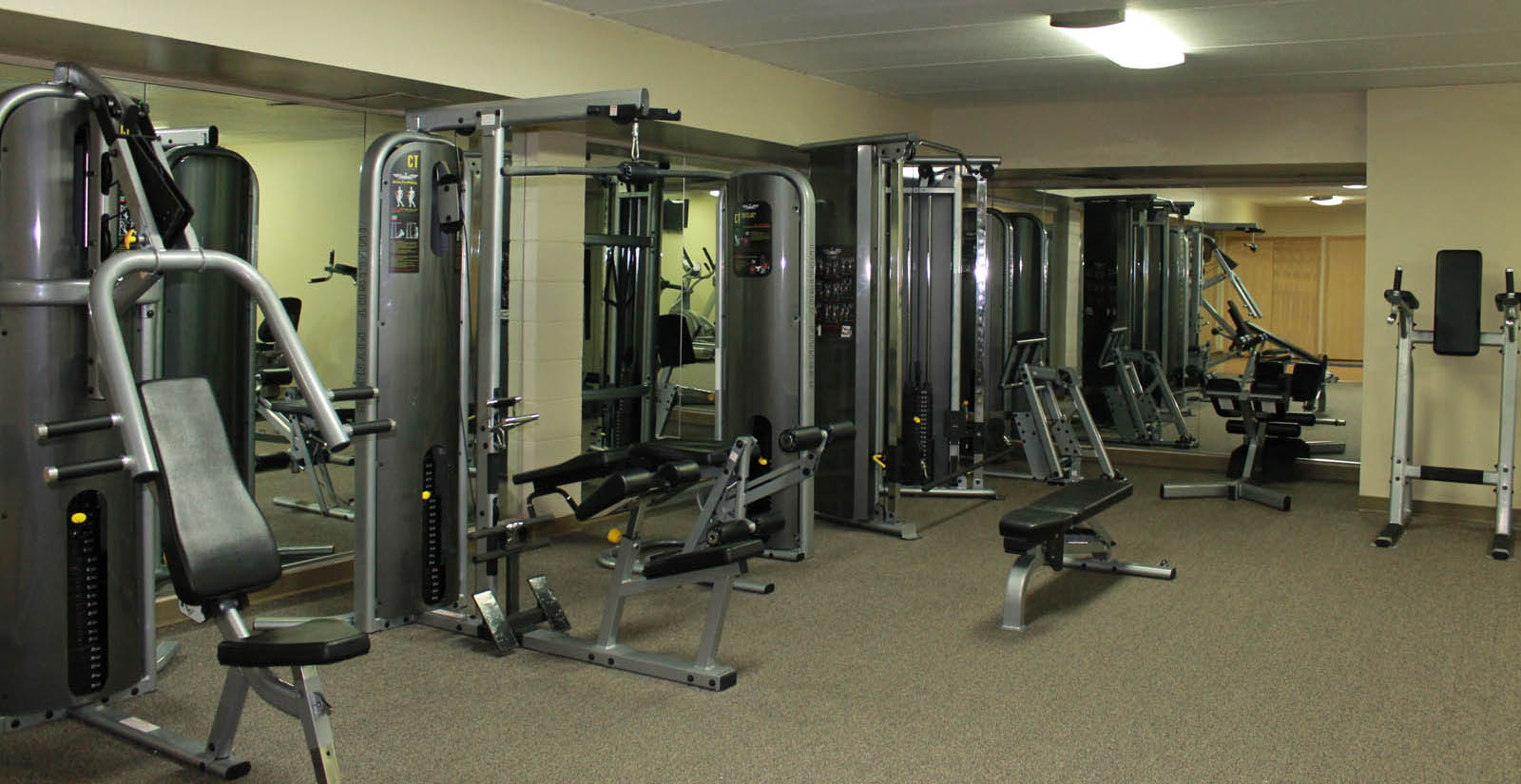 Fitness center at apartments in Greenfield