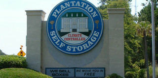 Road entrance sign for Plantation Self Storage