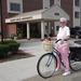 Senior living resident with bicycle at Baldwin House