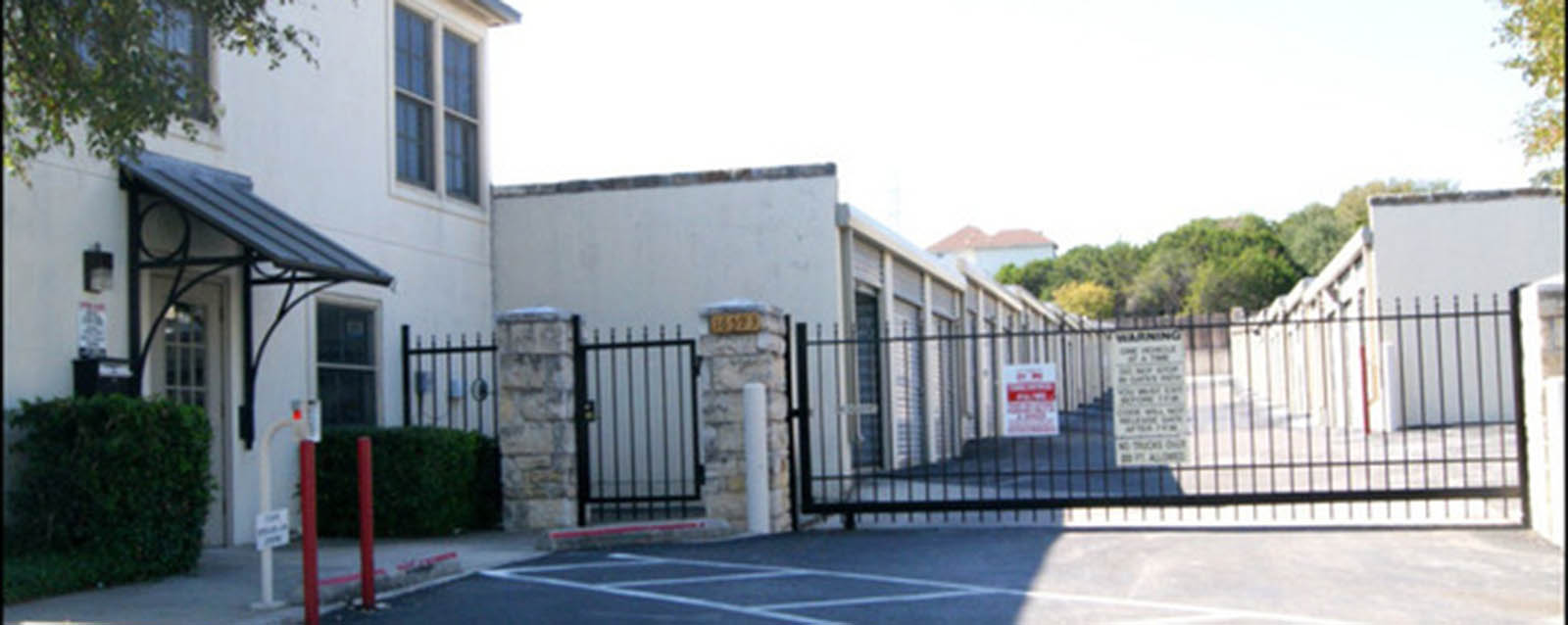 Gated security entrance to self storage in san antonio