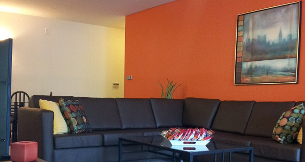 Orange wall view living roo