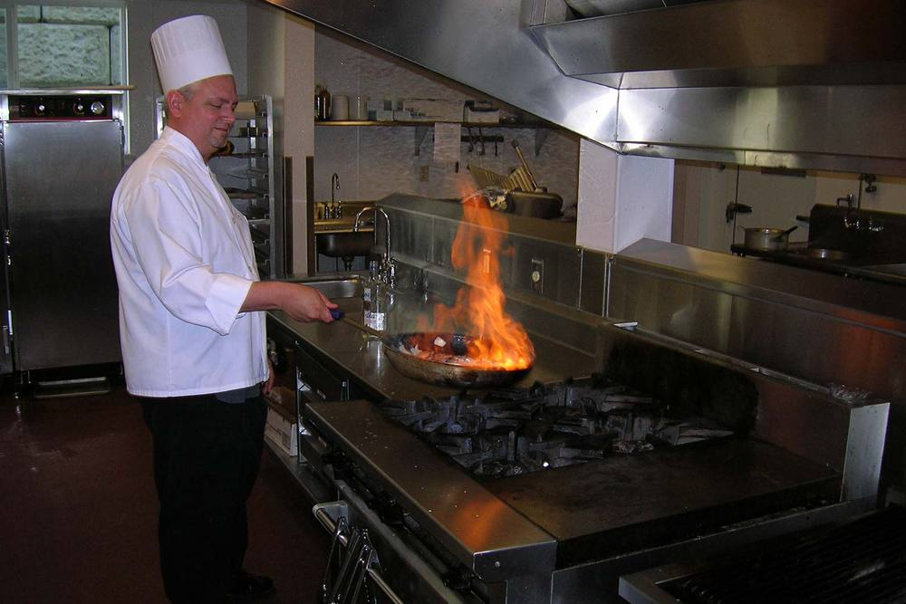The chef at our Portland senior living community prepares a meal