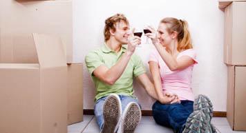 Young couple finished packing at Extra Storage.