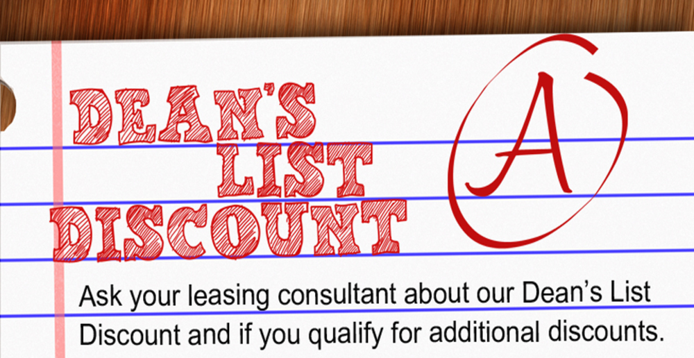 Deans list discount at east lansing student apartments