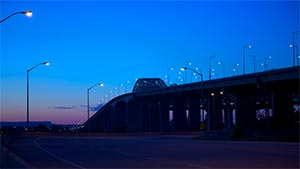 Burlington Bridge at night