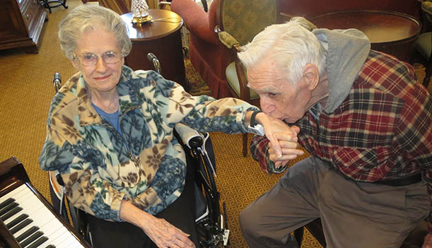Happy couple at Singh senior living community