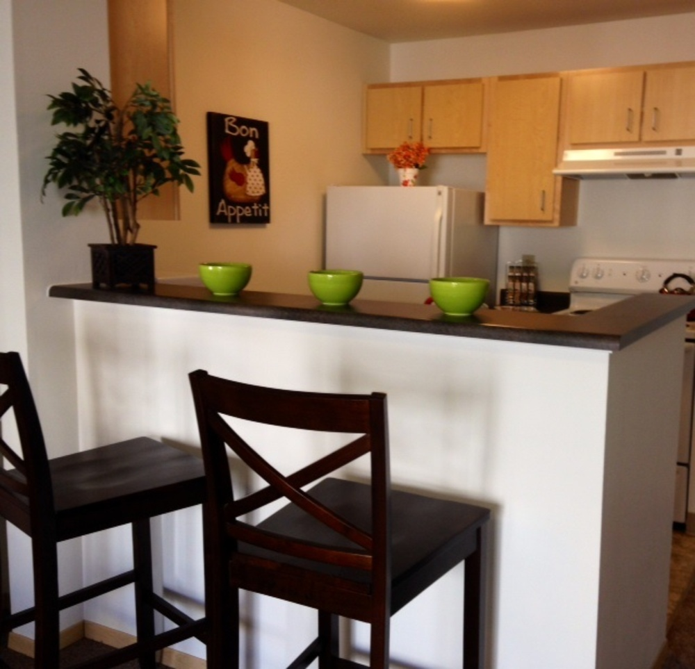 Kitchen with green bowls