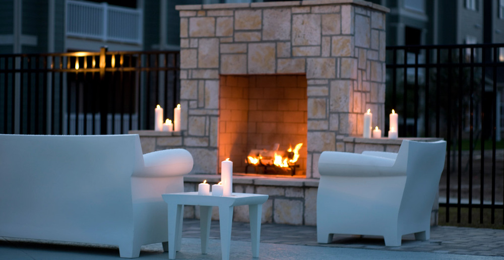 Apartments in Lafayette have very nice outdoor fireplaces