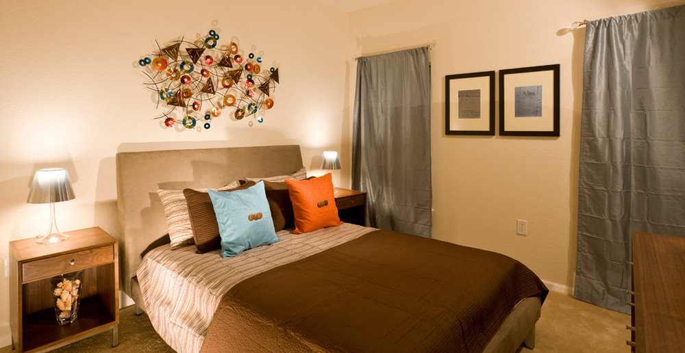 Open and bright bedrooms at the apartments in Lafayette