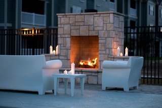 Lafayette apartments have nice outdoor fireplaces