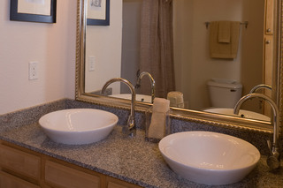 Luxury apartment bathroom sinks at Lafayette apartments