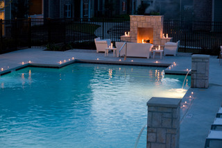 A safe outdoor pool and fireplace at Lafayette apartments for rent