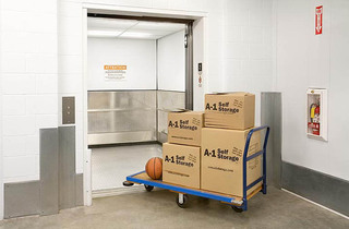 Belmont self storage features an elevator for easy moving