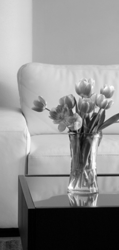 Bw sofa flowers