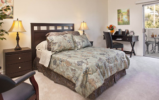 Model bedroom in Pasadena Assisted Living apartments