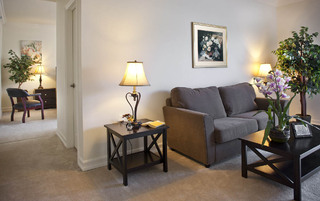 Model living room at Pasadena Assisted Living