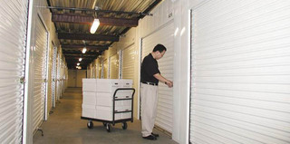 Wide Pasadena self storage aisles