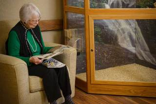 Quiet reading nook at des moines senior living