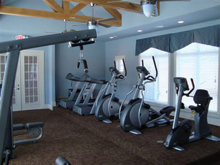 Fitness center at evans apartments