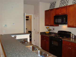 Kitchen at apartments evans