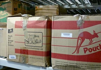 Pouch Records Management boxes in storage.