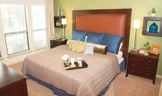 Comfortable bedroom at apartments in Pearland TX