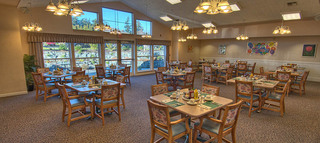 Club dining room at anacorted senior living