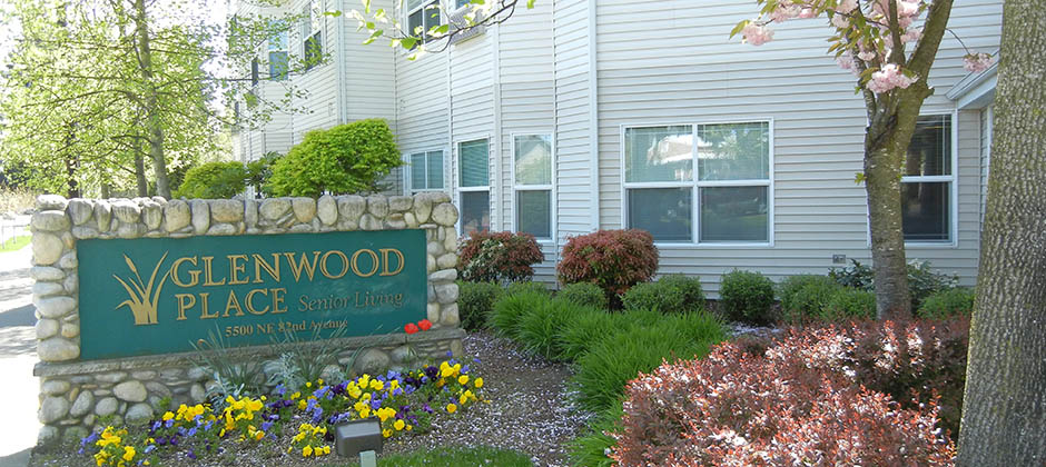 Glenwood place senior living sign