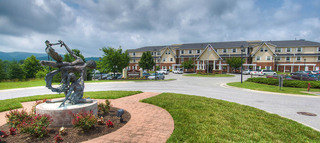 Landscaped exterior at roanoke senior community