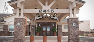 Covered entry at senior living apartments in mesa