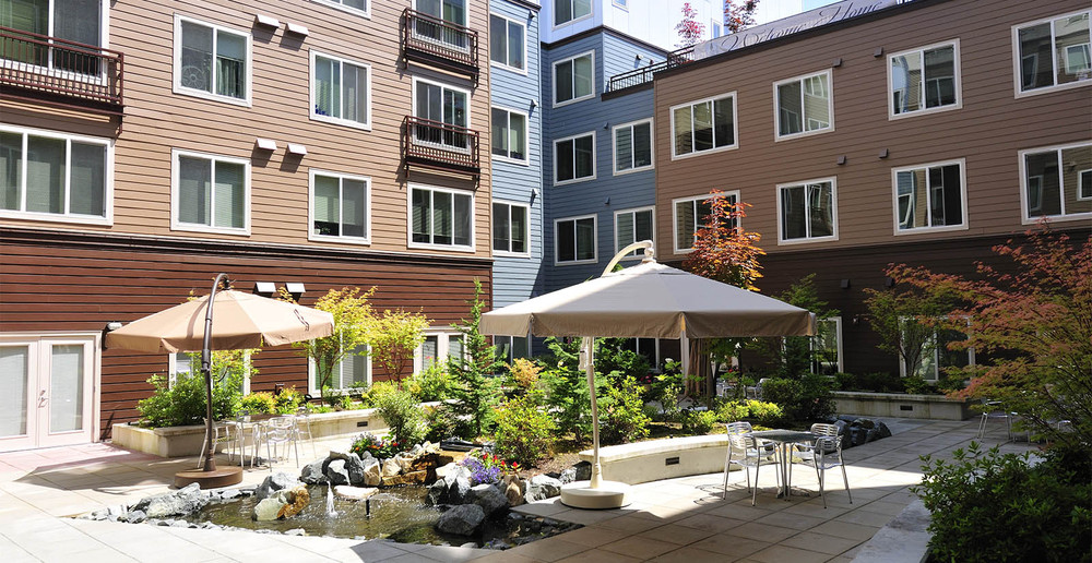 Senior living apartment patio in seattle