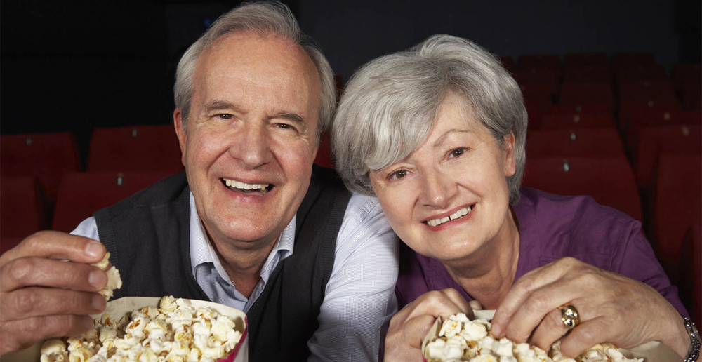 Seattle senior living residents watching movies