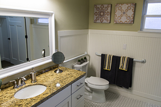 Large irving tx senior living villa bath counter