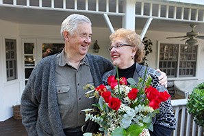 A couple embrace at Calumet senior living