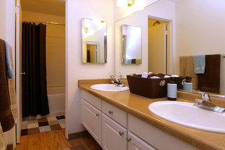 Bathroom with double sinkage at student living in chico