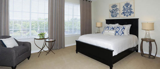 Bright and open bedrooms at Kingwood senior living