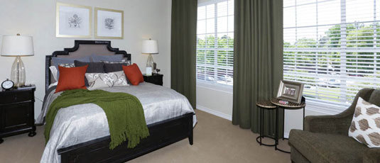 Luxurious bedrooms at Kingwood senior living