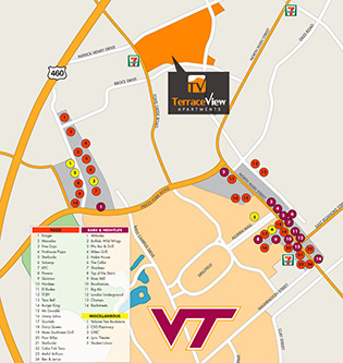 Location map for apartments in Blacksburg