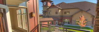 Meridian senior living balcony and landscaped grounds