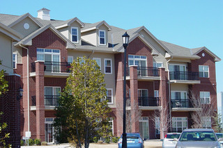 Brick facade and balconies at edmond senior living