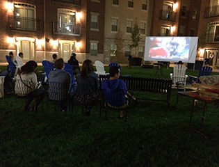 Watching the game outside apartments in Provo