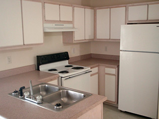 A view inside the kitchen at our Fayetteville apartments